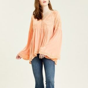 Free People Sea Of Love Sun Blush Sequin blouse